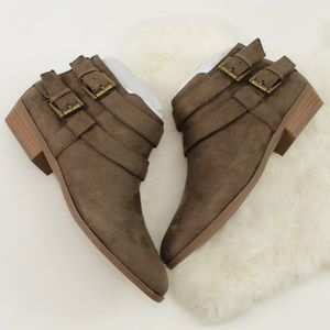 Dark Olive Deenah Double Buckle Ankle Booties